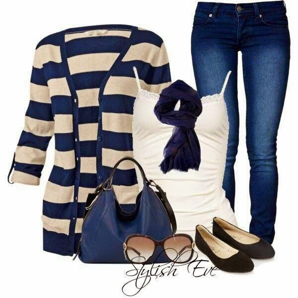 Blue and creamy cardigan, white blouse, jeans, scarf and hand bag combination for fall