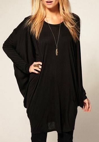 Black Round Neck Bat Sleeve Spandex