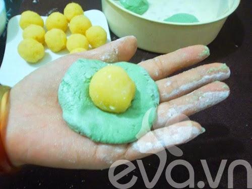 Cách làm bánh Mochi trà xanh nhân đậu xanh3