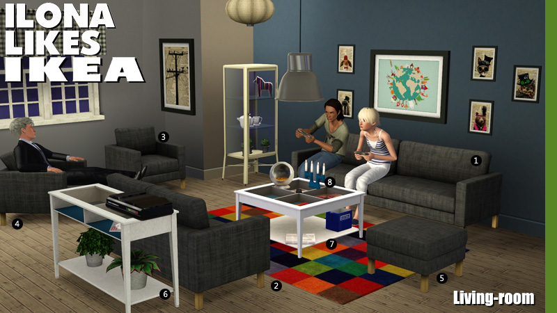 My sims 3 blog ilona likes ikea the living room by sandy for Living room ideas sims 3