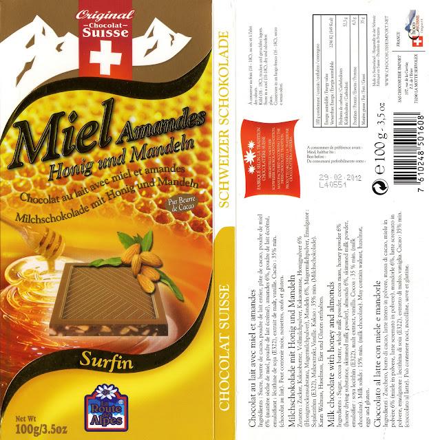 tablette de chocolat lait gourmand orset la route des alpes lait miel amandes