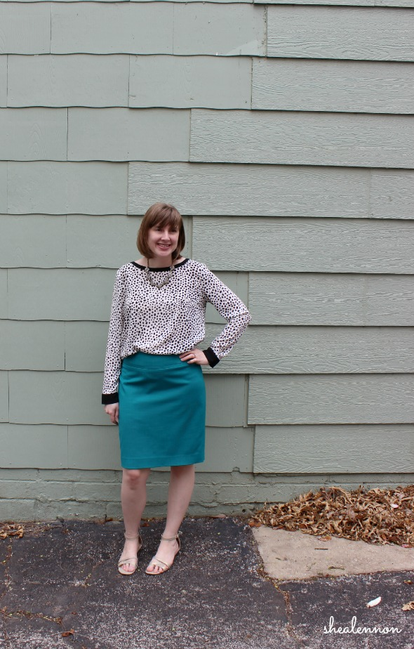 Spring Transition turquoise pencil skirt | www.shealennon.com