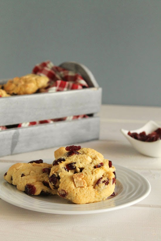 Coconut, cranberries and white chocolate cookies