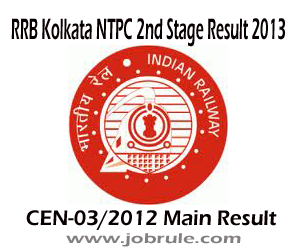RRB Kolkata NTPC Graduate Second Main Stage (CEN-03/2012 Cat-06) Result of Senior Clerk cum Typist and Typing Test Instructions 2013
