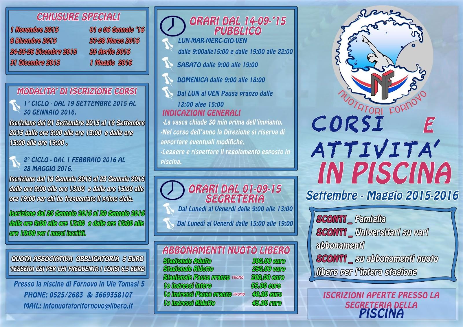 Piscina comunale di fornovo la bacheca settembre 2015 - Piscina lamarmora ...