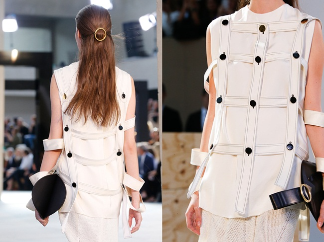 Céline 2015 SS Double Layer Cage Top in Off White Viscose Faille on Runway