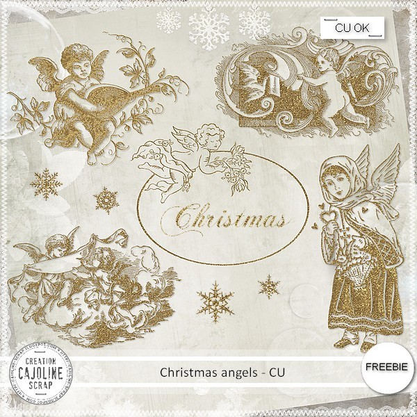 Free digital scrapbook gold christmas angles from Cajoline Ssraps