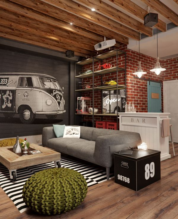 I de a red brick walls in the living room - Modern brick decorated houses ...