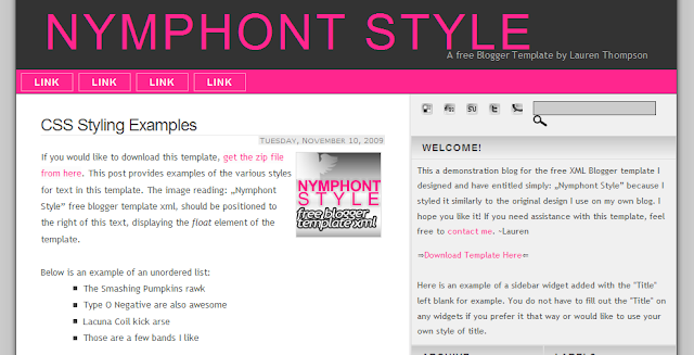 Simple Pink Blogger Template