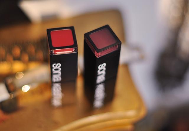 Sonia Kashuk Makeup, red lipstick, plum lip stick