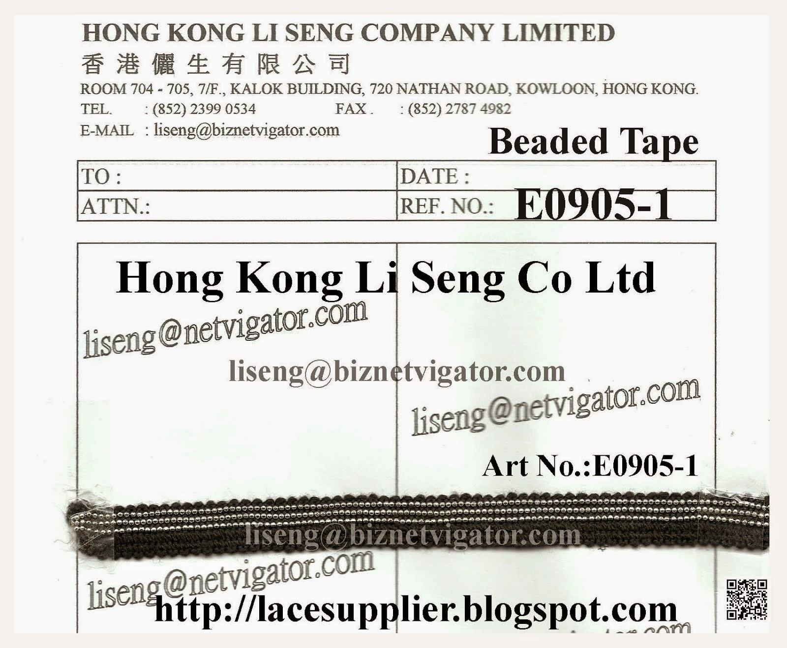 Beaded Tape Manufacturer Wholesaler Supplier - Hong Kong Li Seng Co Ltd