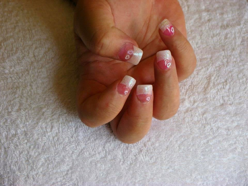 Pink and White French Tips Nail Art