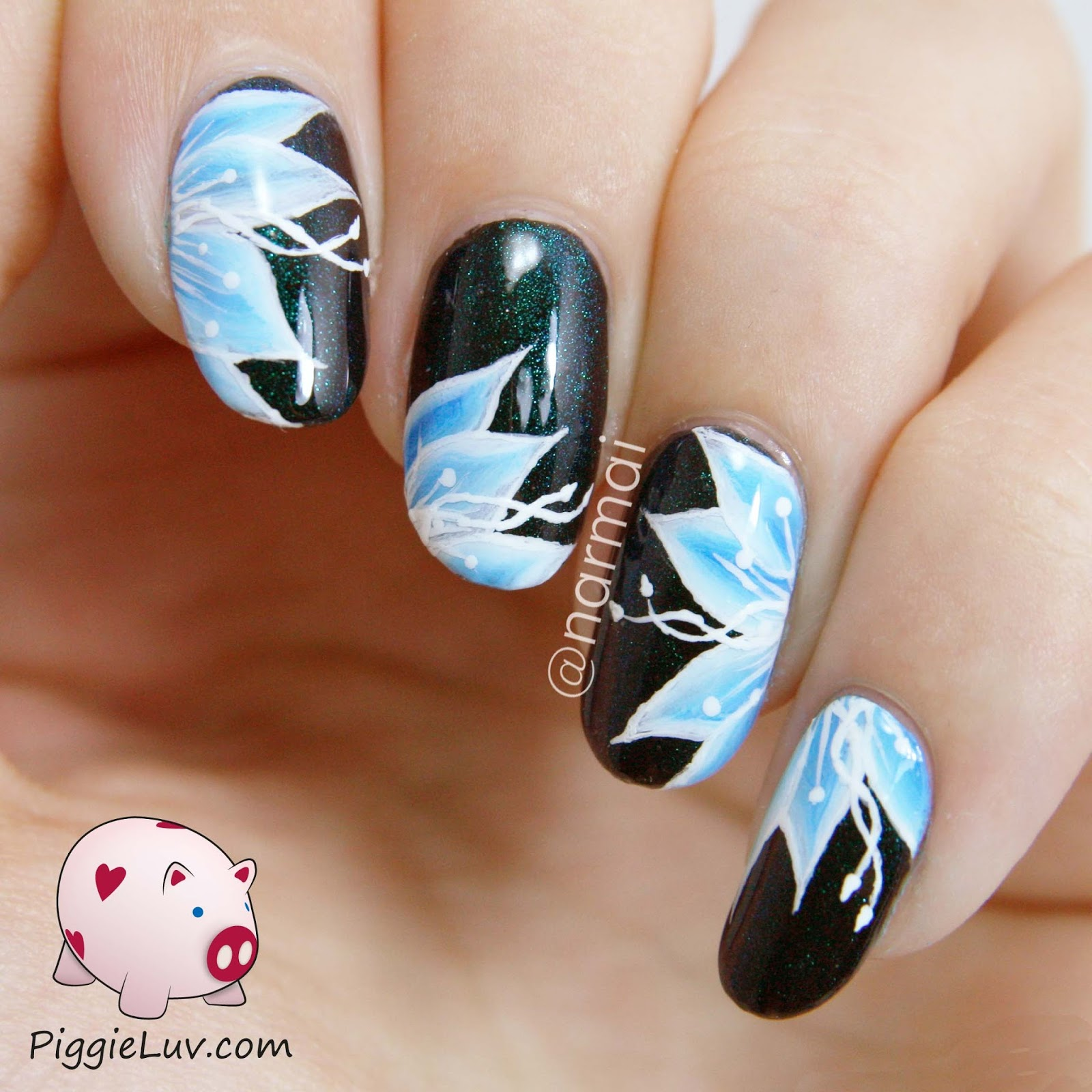 Let Me Hit You With Some More One Stroke Flowers Are Sick Of Them Yet I Used Girly Bits Cosmic Ocean Over Black As The Base For This Nail Art
