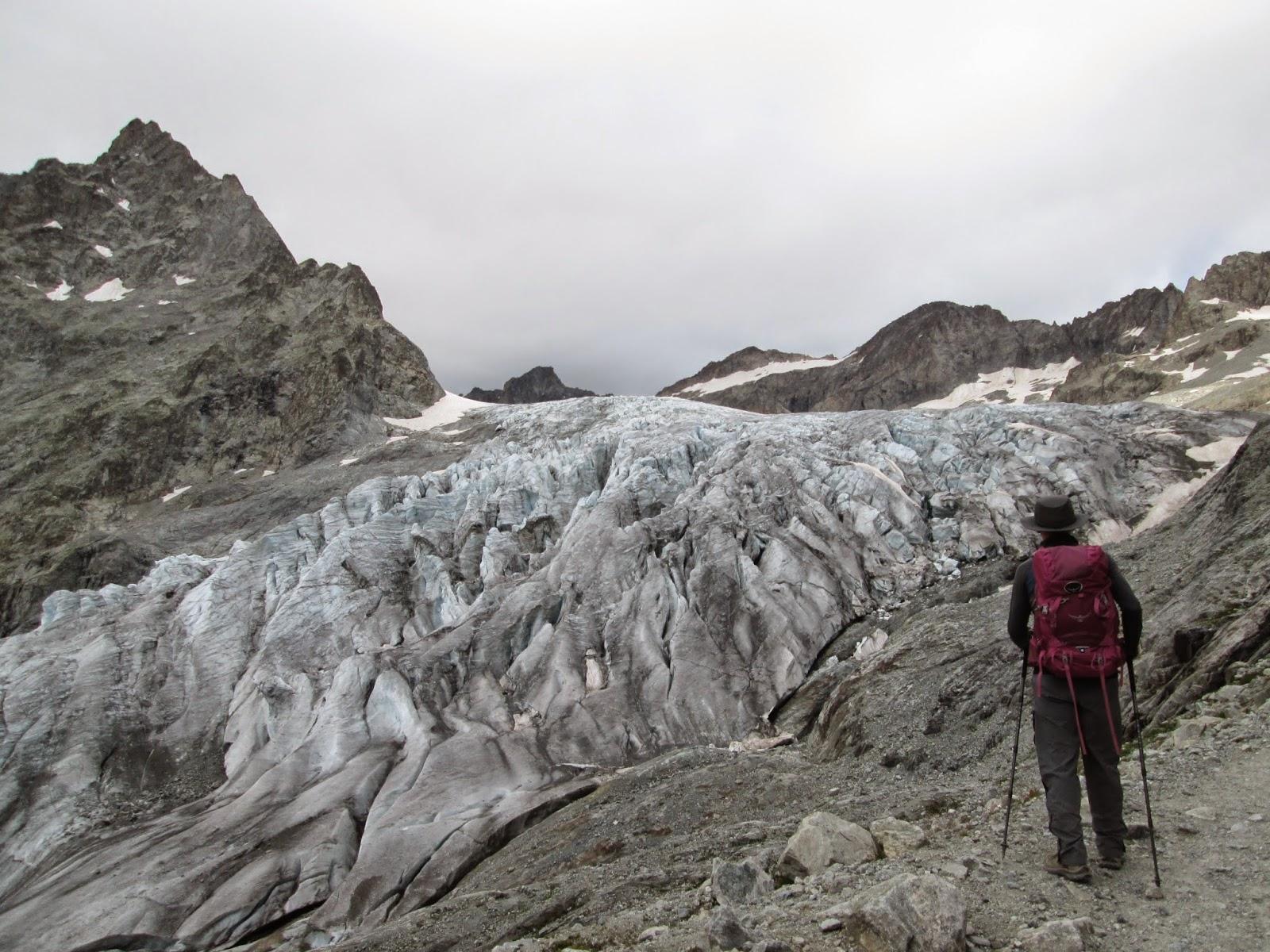 Hiking up alongside the Glacier Blanc, Ecrins National Park, Alps, France