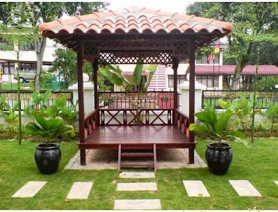 Contoh Saung Taman Rumah Dari Kayu