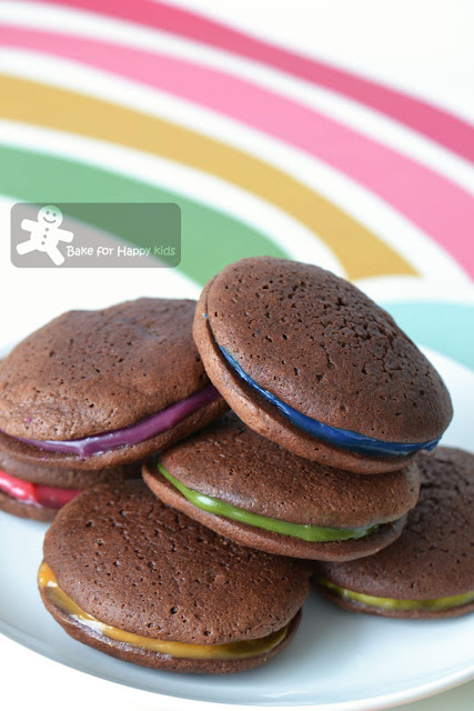 chocolate whoopie pies rainbow toasted almond cream