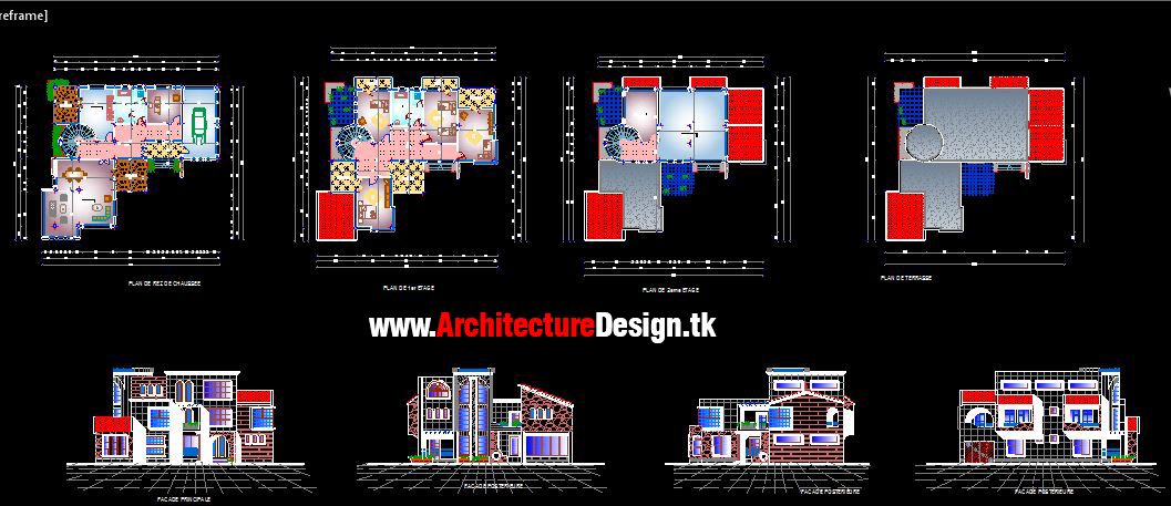Free 3 Modern Houses Design Dwg #02 - Architecture Design ...