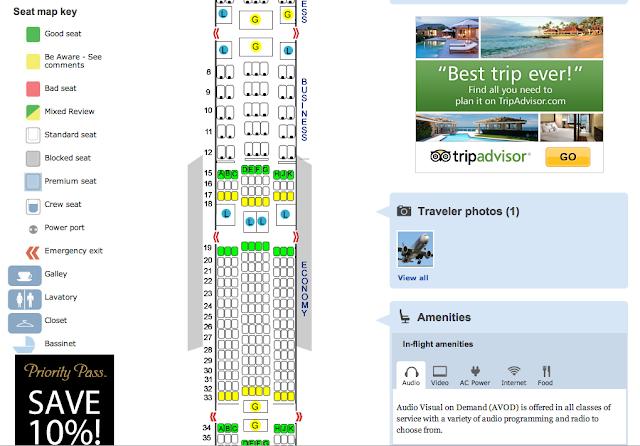 Mapa de assentos de voos e aeronaves