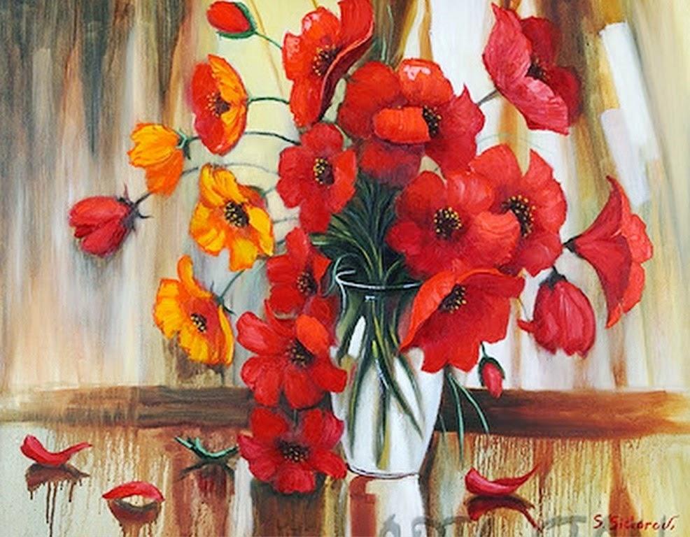 cuadros-modernos-al-oleo-pintados-a-espatula+flores pintadas al oleo-imágenes