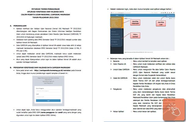 Petunjuk Teknis Penggunaan Aplikasi Verval UN Madrasah 2015-2016