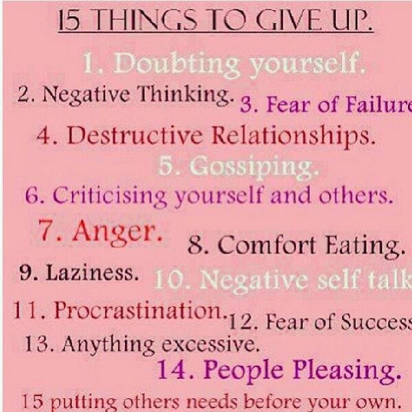 Things to give up in order to move on
