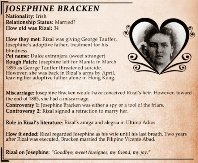 josephine bracken One of the most misunderstood women in philippine history is josephine bracken, otherwise known as mrs jose rizal the national hero himself referred to her as his dulce extranjera and.
