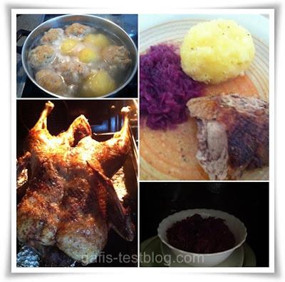 Knuspirg gebratene Ente mit Soße, zweierlei Knödel und selbstgemachtem Blaukraut