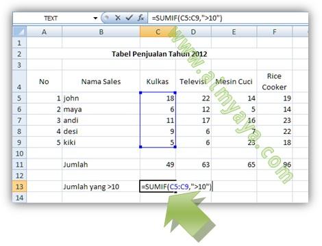 Gambar: Cara melakukan penjumlahan dengan syarat/kriteria di Microsoft Excel dengan mengetik rumus SUMIF