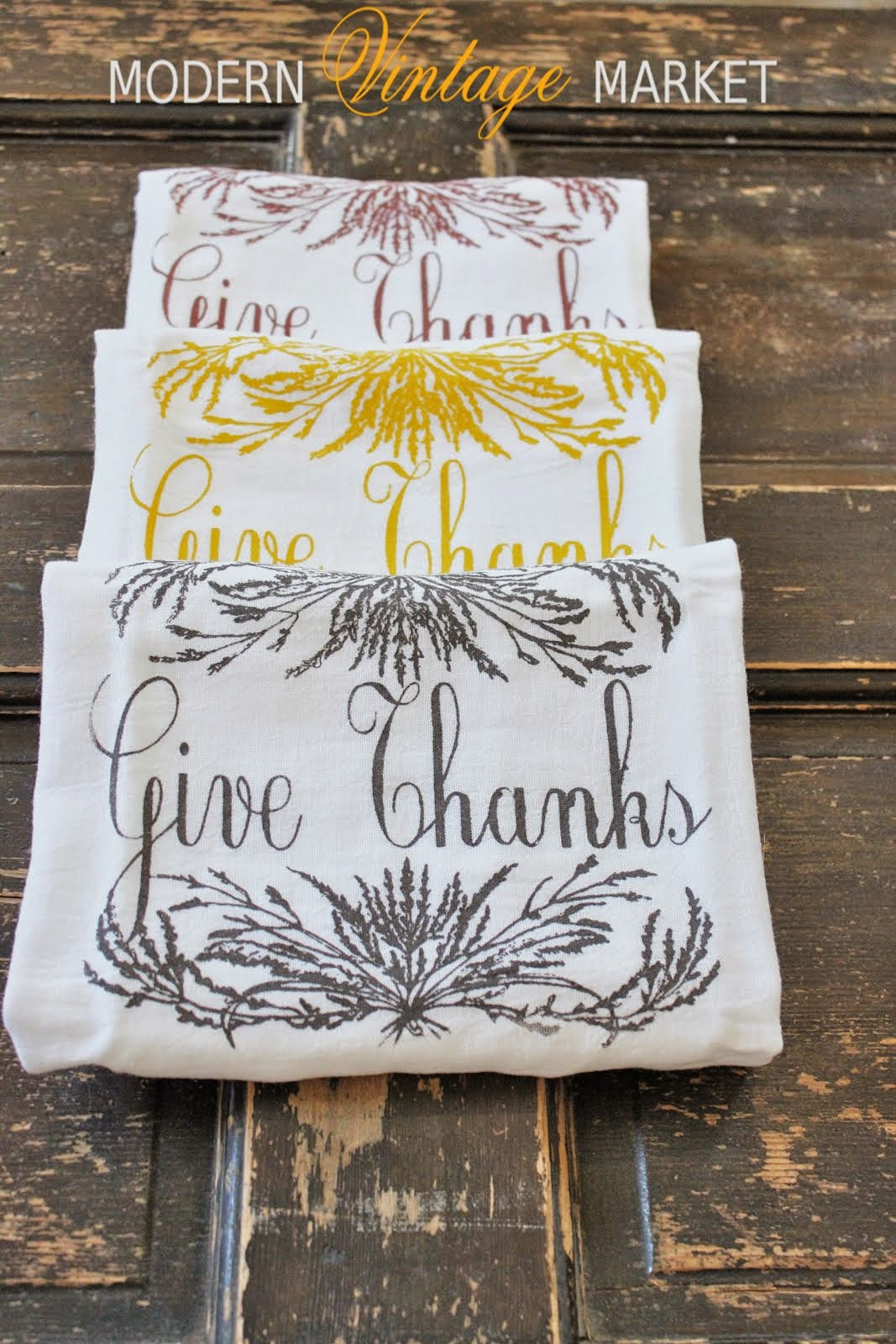 Fall Harvest Give Thanks Towels