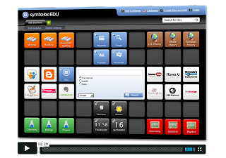 A demonstration of a PLE on Symbaloo, with colourful blocks showing links to various resources such as Blogger, Google Docs, and TeacherTube.