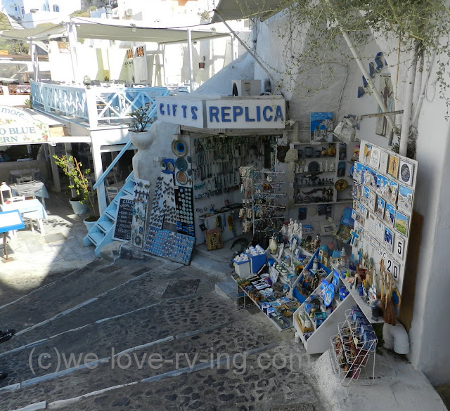 Shops line the steps of Fira