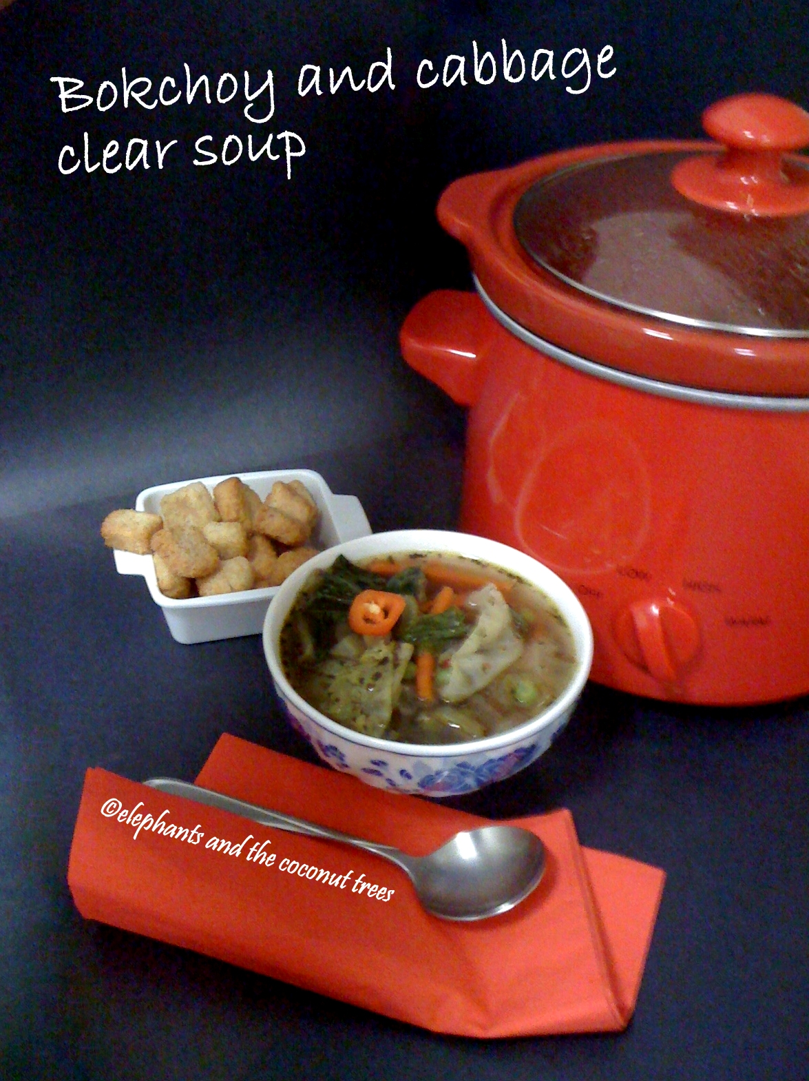 ... choy and cabbage clear soup / Soup for the sick / Low cal winter soup