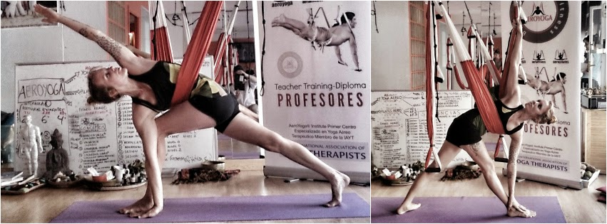 Aerial Yoga Teacher Training Trikonasana Pose