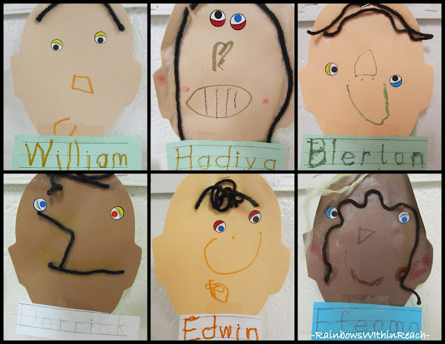 photo of: Preschool Self Portraits with Yarn Hair 