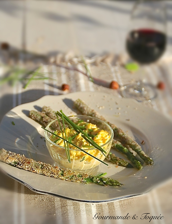 Gourmande toqu e oeufs brouill s mouillettes d 39 asperge - Oeufs brouilles bain marie ...