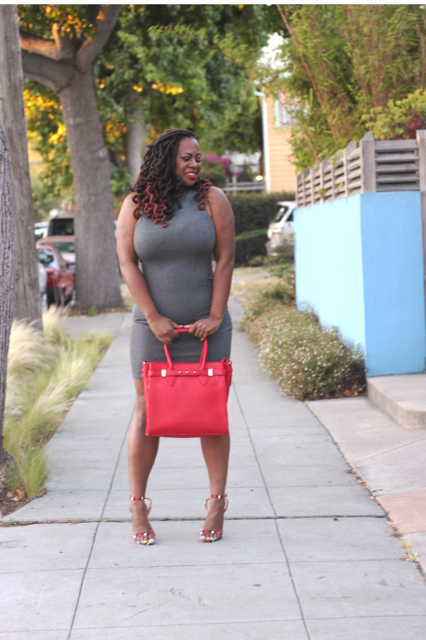 Justfab-Matthew-Handbag, Justfab-Verity-Red-Snake-Print-Strappy-Heels, Mac-Ruby-Woo-Lipstick, ASOS-grey-dress, Melissa-Geddis