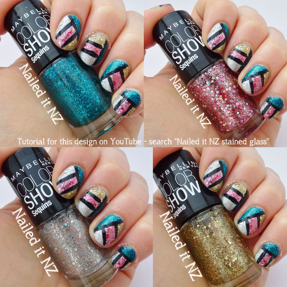 Stained Glass Nail Art Tutorial + Maybelline Colour Show Sequins ...