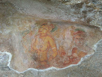 Fresco graffiti paintings covered most of western Sigiriya rock face, topless girls, tits, amazing ancient artist