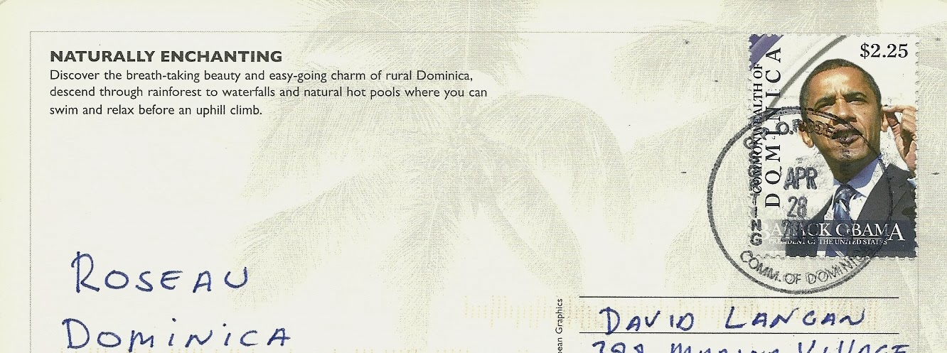 Postcards a world travelogue dominica and stcia world heritage the post office in dominica had a great selection of stamps here you see the then newly elected president of the united states sciox Images