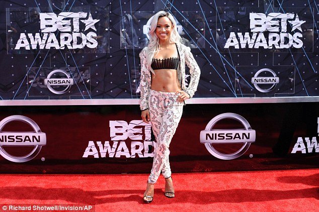Karrueche Tran in a sheer bra at the 2015 BET Awards in LA