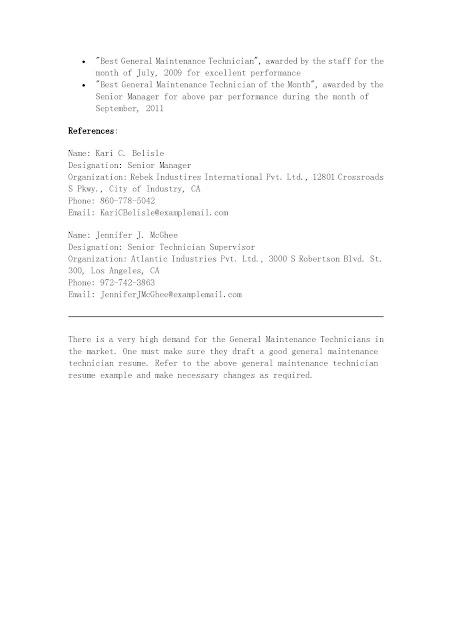 Maintenance Technician Resume Sample – Resume for Maintenance