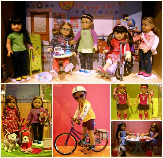 American Girl Doll School Set - science kit, lacrosse uniforms, puppies, bike, and lunch playset