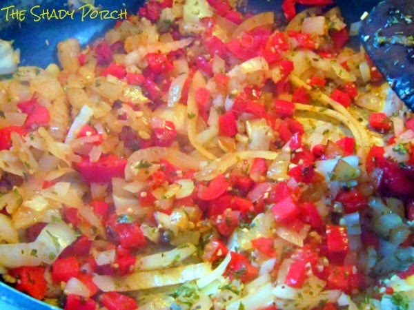 saute the onions and red bell pepper in olive oil