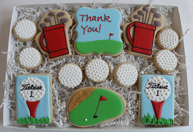golf themed thank you cookie package