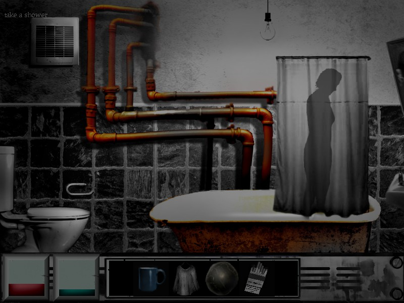 The Cat Lady game review screenshot shower curtain