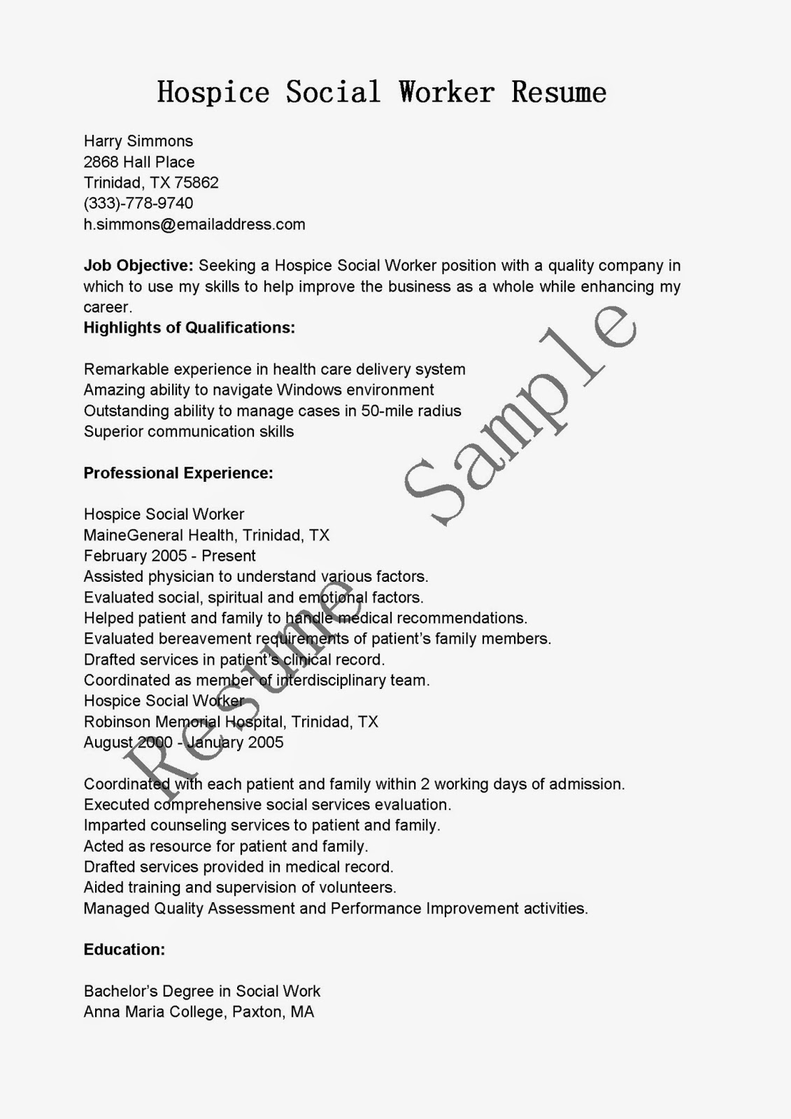 resume samples hospice social worker resume sample