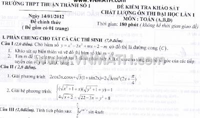 Đề thi thử Đại học, môn Toán, khối A B D, năm 2012 , Thuận Thành 1, Bắc Ninh