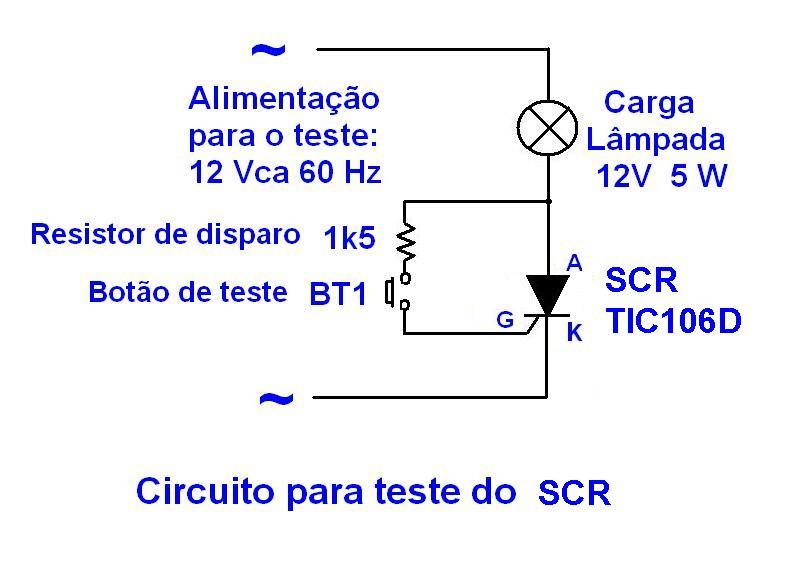 Circuito Com Scr Tic 106 : Eletrônica microcontroladores teste de tiristores triac
