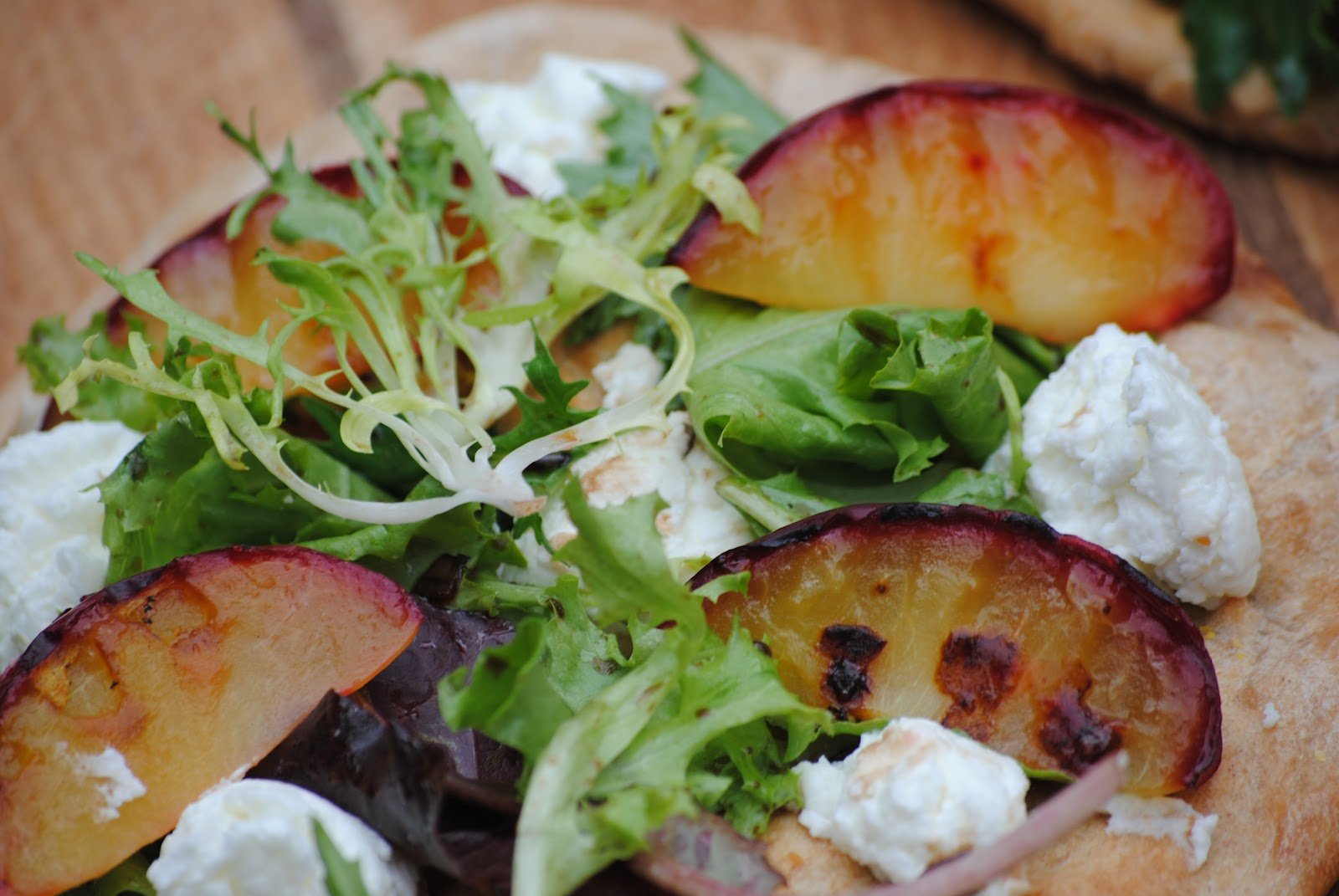 Grilled Plum Pizza with Goat Cheese and Field Greens | Virtually ...