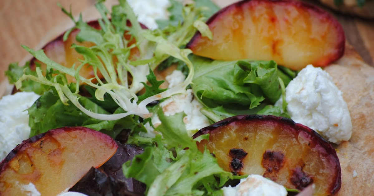 Grilled Plum Pizza with Goat Cheese and Field Greens ...